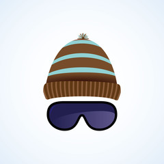 Ski goggles with hat isolated on white. Vector illustration