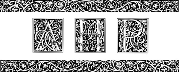 Initials and ornamental border in medieval style