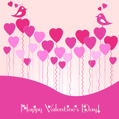 Festive card with pink heart air balls on Valentine's day