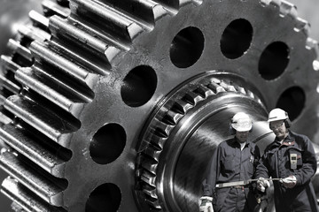 Wall Mural - metal workers and cogwheels machinery, industrial parts