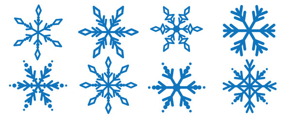 Snowflakes, winter blue vector snow