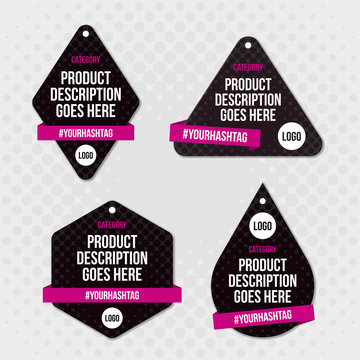 Product label swing tag design. Editable EPS vector
