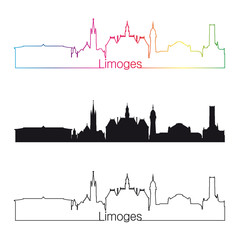 Limoges skyline linear style with rainbow