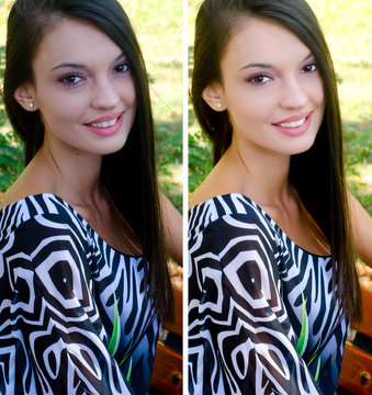 Portrait of girl before and after retouching with photoshop.