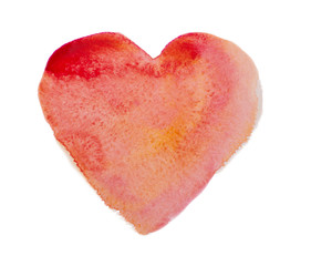 Watercolor, aquarelle red heart isolated on white background