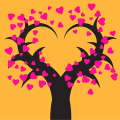 valentine tree - vector illustration
