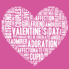 Valentine's Day word cloud concept including terms such as love