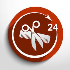 Vector hair salon tools. 24 hours service.