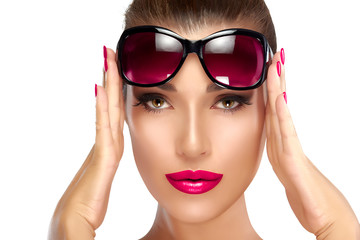 Fashion Model Woman Holding her Shades on Forehead