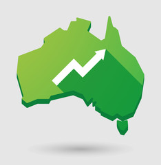 Green Australia map shape icon with a graph