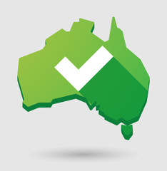 Green Australia map shape icon with a check mark