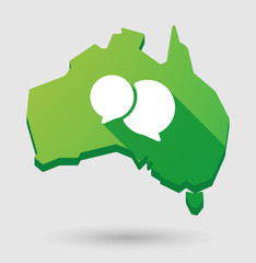Green Australia map shape icon with a comic balloon