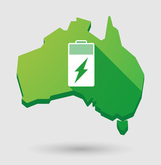Green Australia map shape icon with a battery