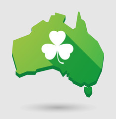 Green Australia map shape icon with a clover