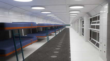 Futuristic interior and berths