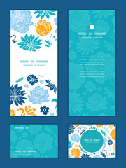 Vector blue and yellow flowersilhouettes vertical frame pattern