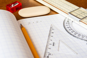 Solving mathematical problems, a notebook with drawing tools
