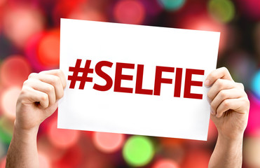 #Selfie card with colorful background with defocused lights