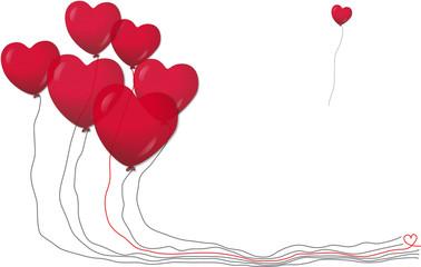 Rote Luftballons in Herzform, Vektor