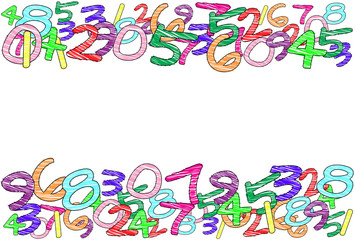 A colorful frame with random hand-drawn numbers