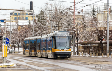 Modern tram on a street of Sofia - Bulgaria