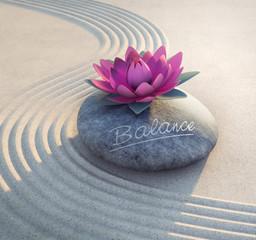 Wall Mural - Balance - Lotusblüte auf Stein