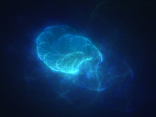 Blue glowing quantum in space