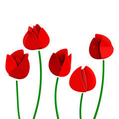 Five red tulip flowers, 3d illustration
