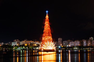 Christmas Tree in the Lake in Rio de Janeiro at Night