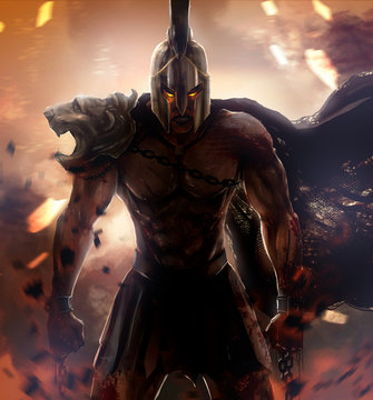 Angry spartan warrior fire god.