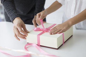 Parent and child that you are wrapping a gift