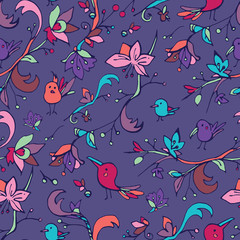 Violet seamless pattern with colorful birds and flowers