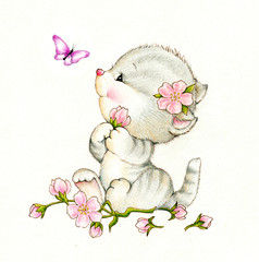 Adorable kitten with flowers and butterfly