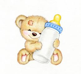 Teddy bear with bottle of milk