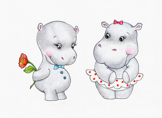 Two lovers hippo