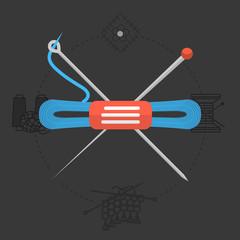 Flat design vector illustration for handmade. Knitting