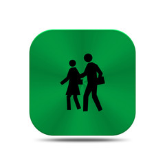 Green metal button with school icon