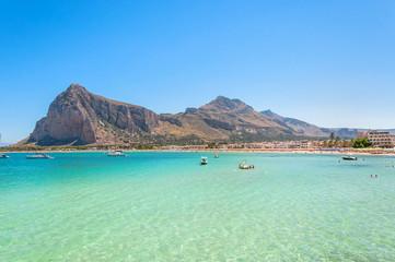 Beach and Mediterranean sea in San Vito Lo Capo, Sicily, Italy Fototapete