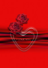Transparent heart and two red roses