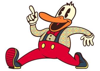 vintage toons: retro cartoon smiling duck walking and talking