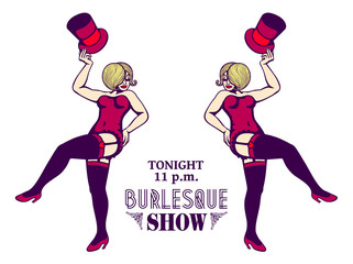 Sexy ladies in corset and stockings, striptease burlesque show