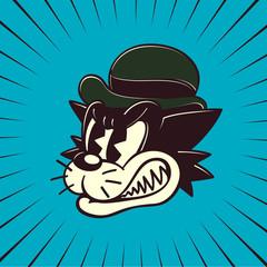 Vintage Toons: retro cartoon angry cat character grinding teeth