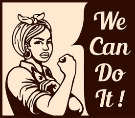 We can do it! working woman rolling up sleeves, gender equality