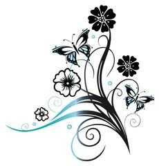 Ranke mit Blüten und Schmetterling. Blau, schwarz.