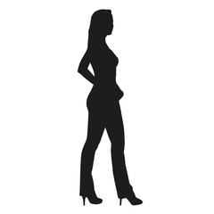 Silhouette of beautiful sexy girl