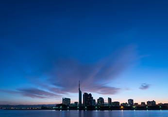 夜明け前の福岡市街地