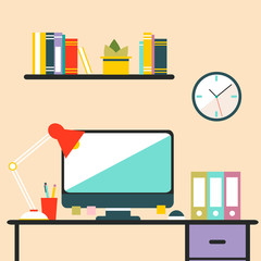 Flat design workspace interior with personal computer.