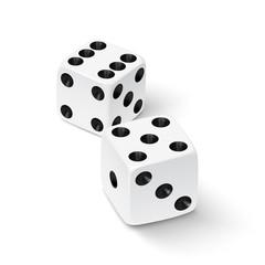 Realistic white dice icon