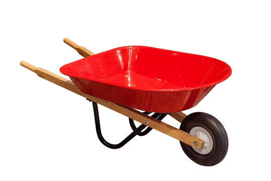 Garden wheelbarrow cart isolated on white background