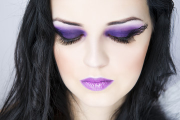Make-up beautiful young woman close up